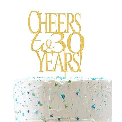 Amazon.com: Alegría a 30 años tarta – oro con purpurina ...