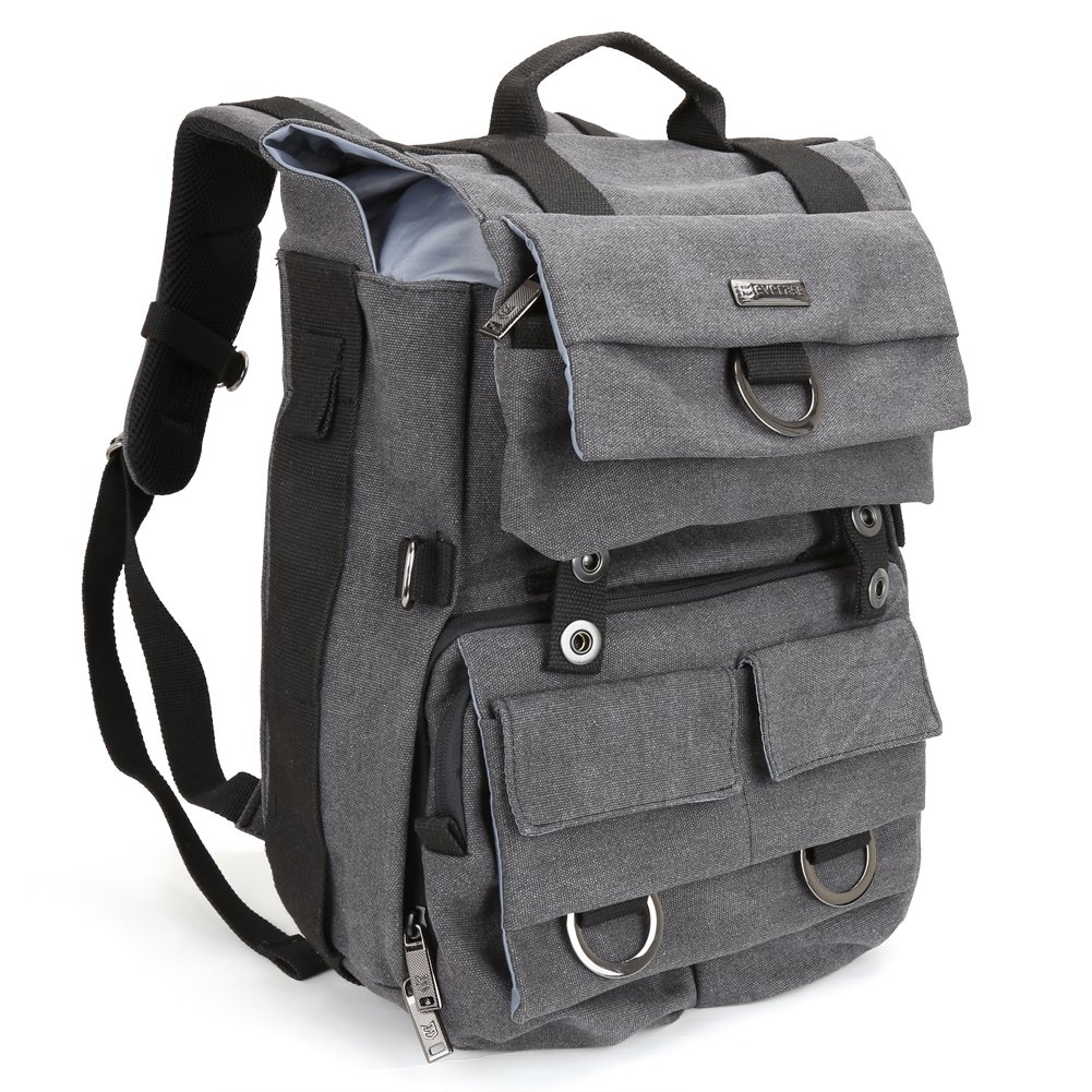Canvas SLR/ DSLR Camera Backpack, Evecase Multi Purpose Outdoor Large Camera Bag w/Laptop Compartment & Rain Cover for Nikon, Canon, FujiFilm, Olympus, Samsung, Panasonic, Pentax, Ricoh, JVC and More Digtal SLR Camera - Gray 885157934459