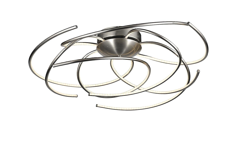 Deckenleuchte Durchmesser 70cm Trio Leuchten LED Deckenleuchte, Integriert, 34.7 W, Nickel, Aluminium Matt, Acryl Weiß, Durchmesser 70cm