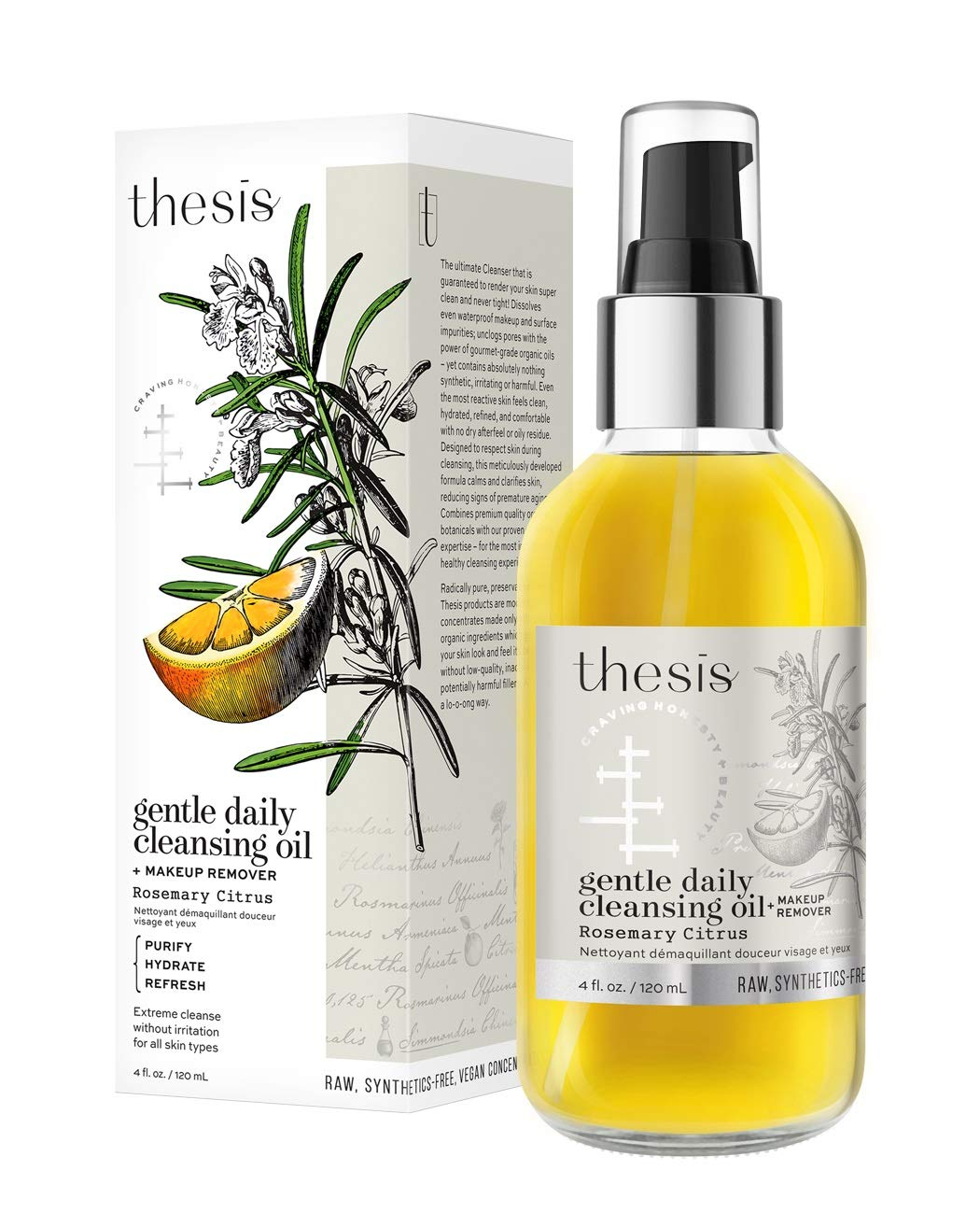 Thesis Organic Natural Facial Cleansing Oil & Makeup Remover - Rosemary Citrus - for Face, Eyes, Lips - Gentle Moisturizing Non-Irritating Daily Face Cleanser by Thesis