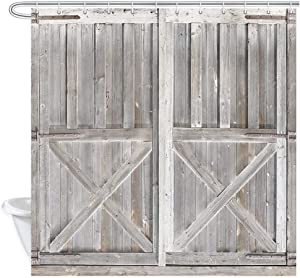 Rustic Wooden Barn Door Decor Shower Curtain for Bathroom, Western Country Theme Vintage Rural Farm House Door Painted Fabric Bath Curtains and Hooks Set, Bathroom Waterproof 69X70 Inches, Retro Gray