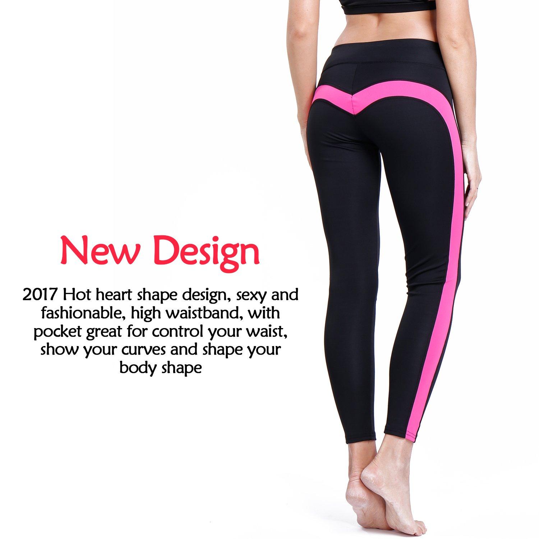 CFR Women's Heart Shaped Yoga Pants Hot! Workout Ankle Length Fitness Leggings