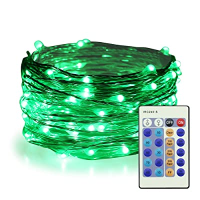 ER CHEN Green Fairy Lights Plug in, 33ft 100 LED Starry String Lights Dimmable with Remote Control, Waterproof Copper Wire Christmas Decorative Lights for Bedroom, Patio, Garden, Yard, Party : Garden & Outdoor