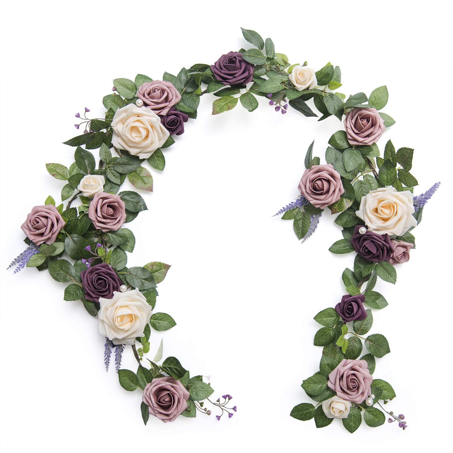 Ling's moment Handcrafted 5ft Full Rose Flower Runner Garland for Wedding Table Centerpiece Arch Canopy Decoration