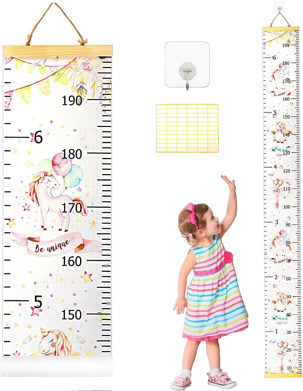 Medidor de Altura Infantil SEELOK Gráfico de Crecimiento Unicornio Tabla de Crecimiento Niños 20 x 200 cm Regla de Altura Guardería Decoración de la Habitación para Niñas Jardín de Infancia