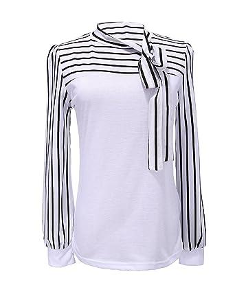 ZANZEA Damenbluse Stehkragen Blus T-shirt Hemd Streifen Shirt TOP Weiss  Tage Size M=