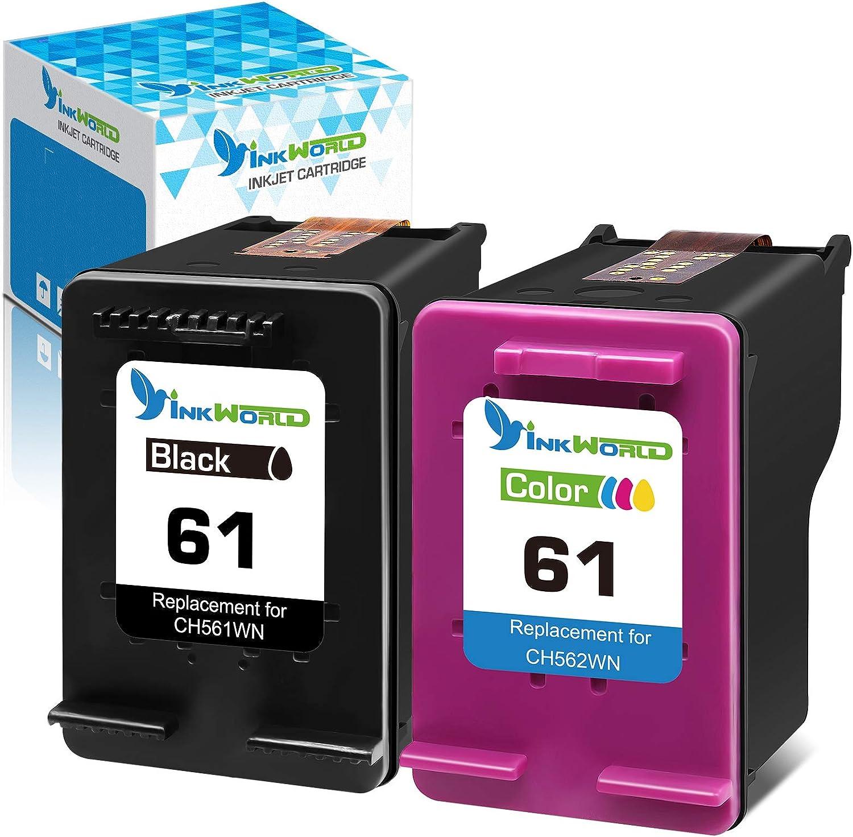 InkWorld Remanufactured 61 Ink Cartridge Replacement for HP 61XL Combo Pack Used for Envy 4500 4502 5530 DeskJet 2512 1512 2542 2540 2544 3000 3052a 1055 2548 OfficeJet 4630 Printer (1 Black 1 Color)