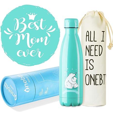 Onebttl Regalos Originales para Madre Mama, Regalos día de la madre, Botella Agua Acero Inoxidable Taza, la Mejor Mamá del Mundo Mundial, ...