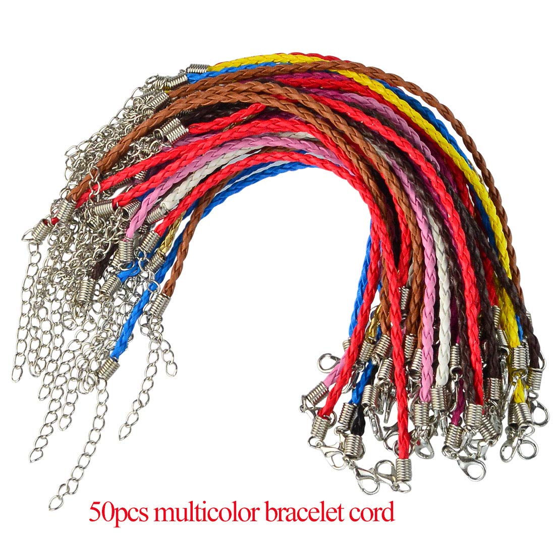 Yolyoo 150pcs Waxed Necklace Cord and Bracelet Making Cord with Lobster Clasp for DIY Jewelry Making,Mixed Color