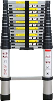 WolfWise 4,7M Escalera telescópica, Extensión telescópica de aluminio Escalera multifunción, extensible, 330 lb / 150 kg Negro: Amazon.es: Bricolaje y herramientas
