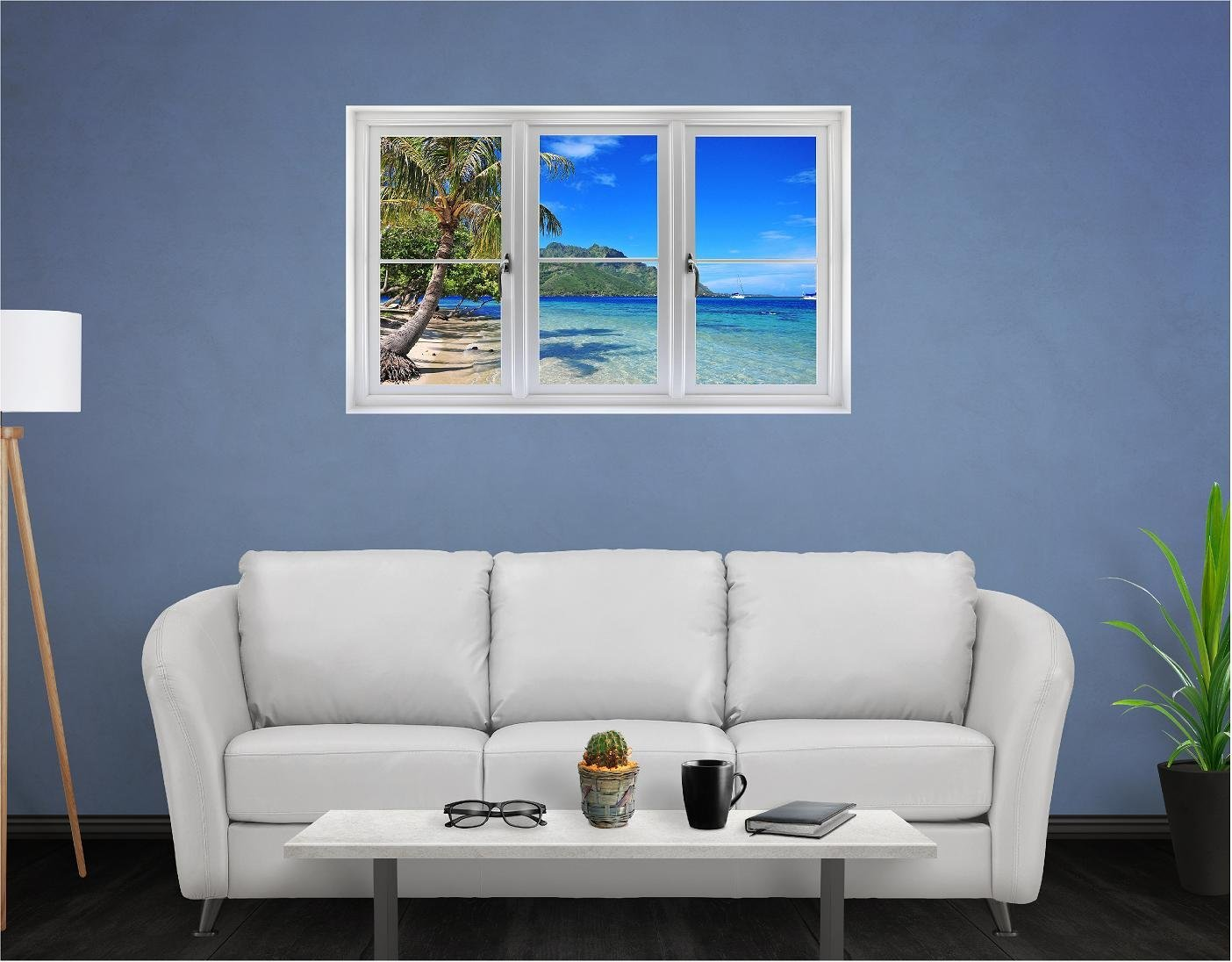 48'' Window Landscape Scene Instant View TAHITI TROPICAL ISLAND BEACH #1 Wall Sticker Decal Kids Room Mural Art Décor Graphic LARGE
