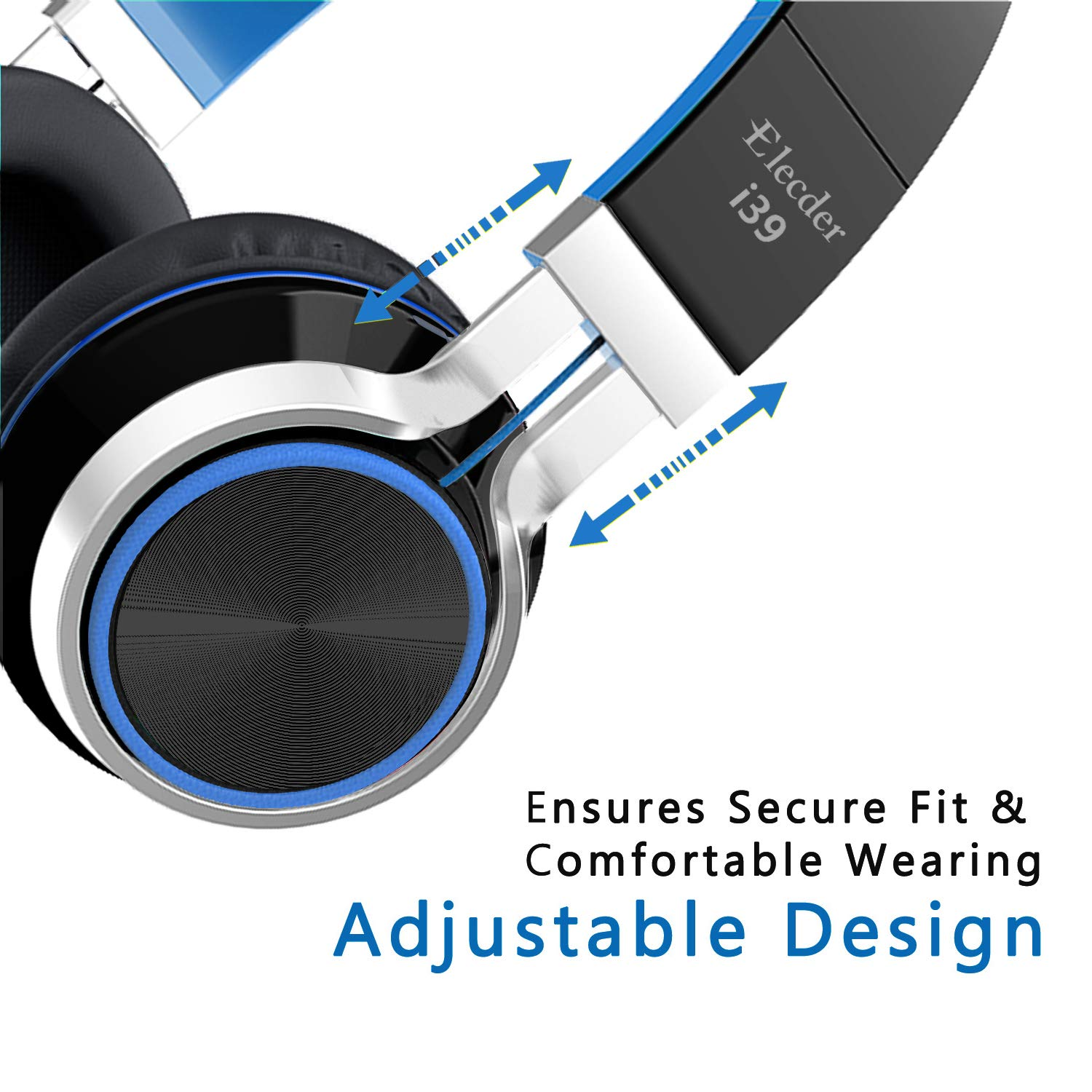 Elecder i39 Headphones with Microphone Kids Children Girls Boys Teens Foldable Adjustable Wired On Ear Headsets Compatible iPad Cellphones Computer MP3/4 Blue/Black by ELECDER (Image #5)