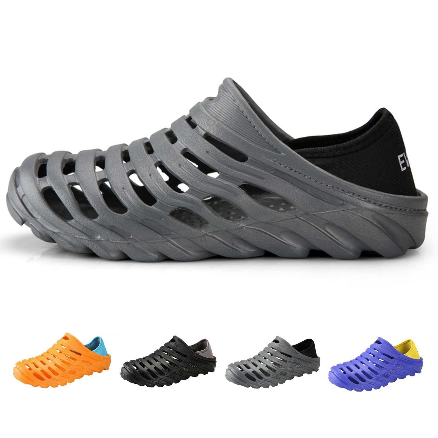 PHILDA Men's Lightweight Breathable Slippers Quick-Drying Water Shoes Non-Slip Round Head Garden Clogs Sandals for Summer Grey 44
