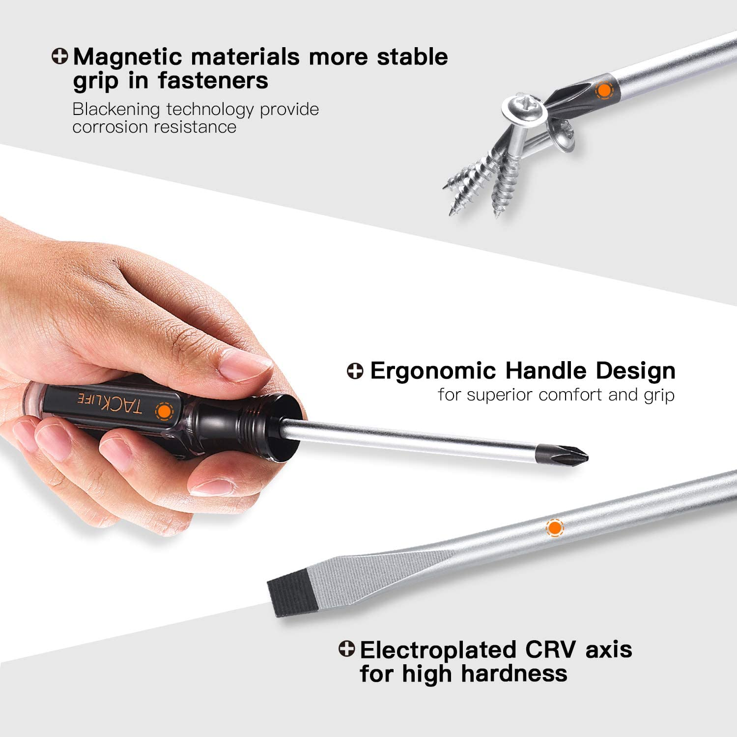 TACKLIFE Screwdriver Set,18pcs Magnetic Slotted/Phillips Screwdrivers and Acetate Hard Grip Handle Screwdriver with Case-HSS7A: Home Improvement