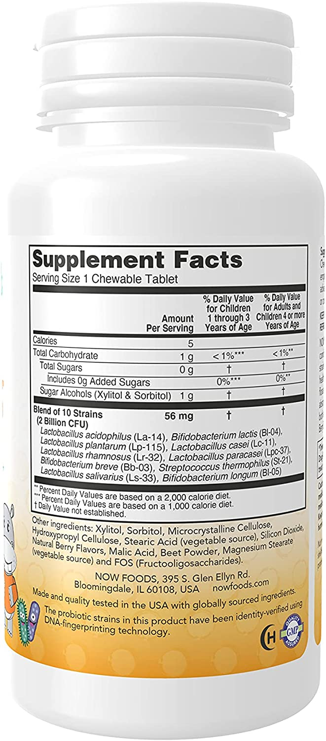 NOW Supplements, BerryDophilus™ with 2 Billion, 10 Probiotic Strains, Xylitol Sweetened, Strain Verified, 60 Chewables