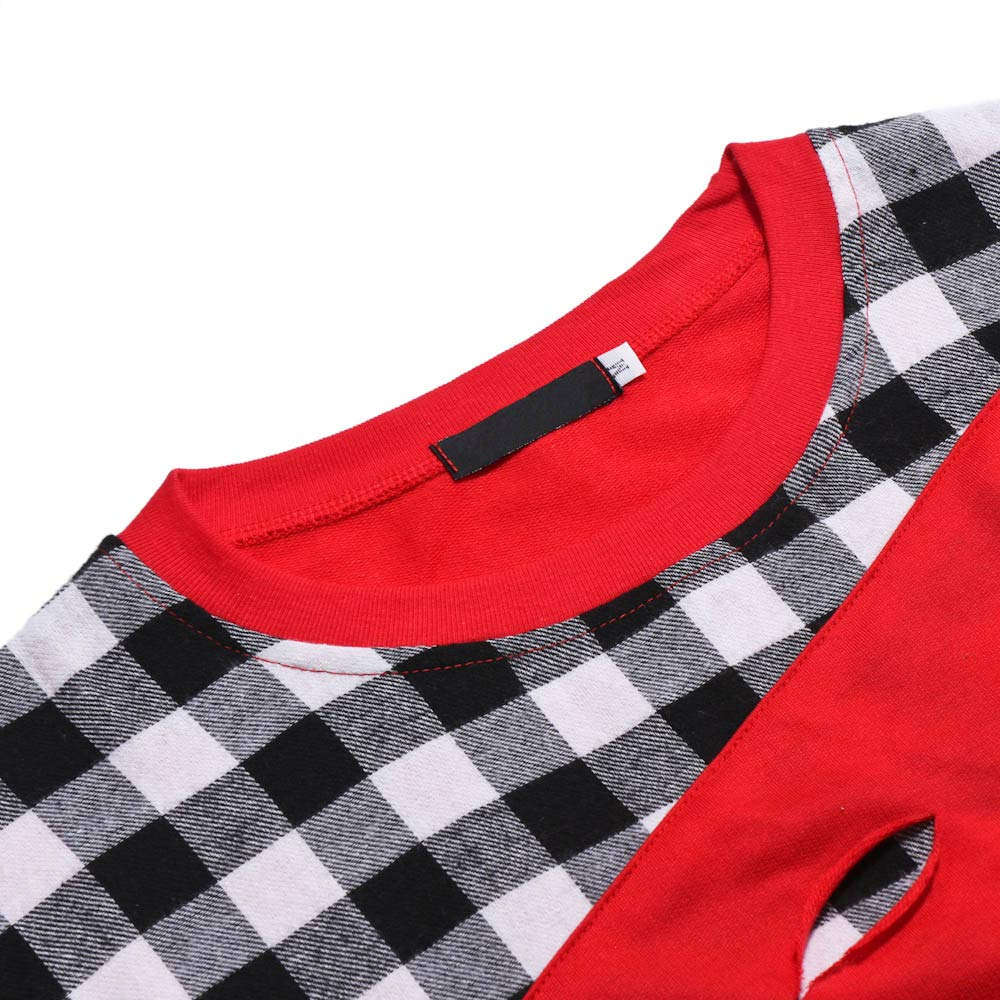 iZHH Mens Long Sleeve Scratches Hole Splicing Casual Suits Shirts Blouse Top