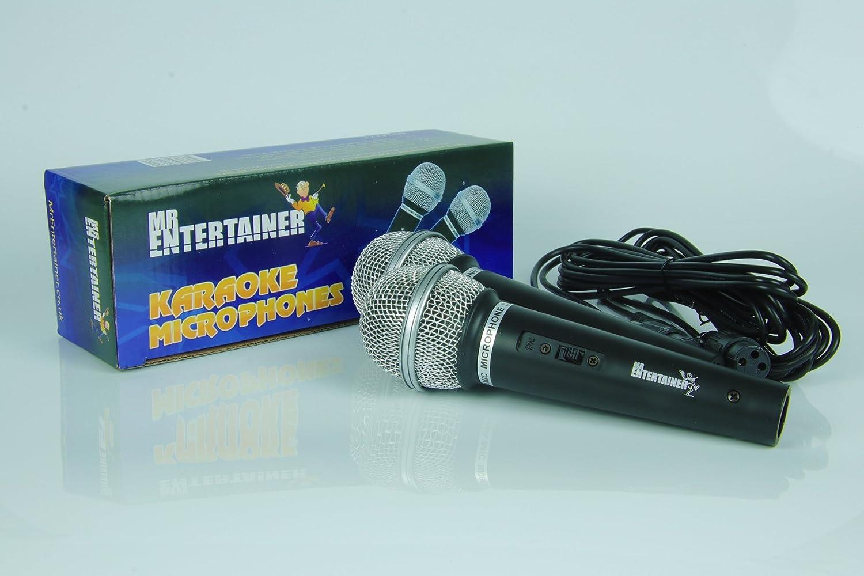 Paar Perfect for use with Karaoke Machines Pair Dynamische Handheld Karaoke-Mikrofone Perfekt f/ür den Einsatz mit Karaoke-Maschinen Mr Entertainer MKM222 Dynamic Handheld Karaoke Microphones