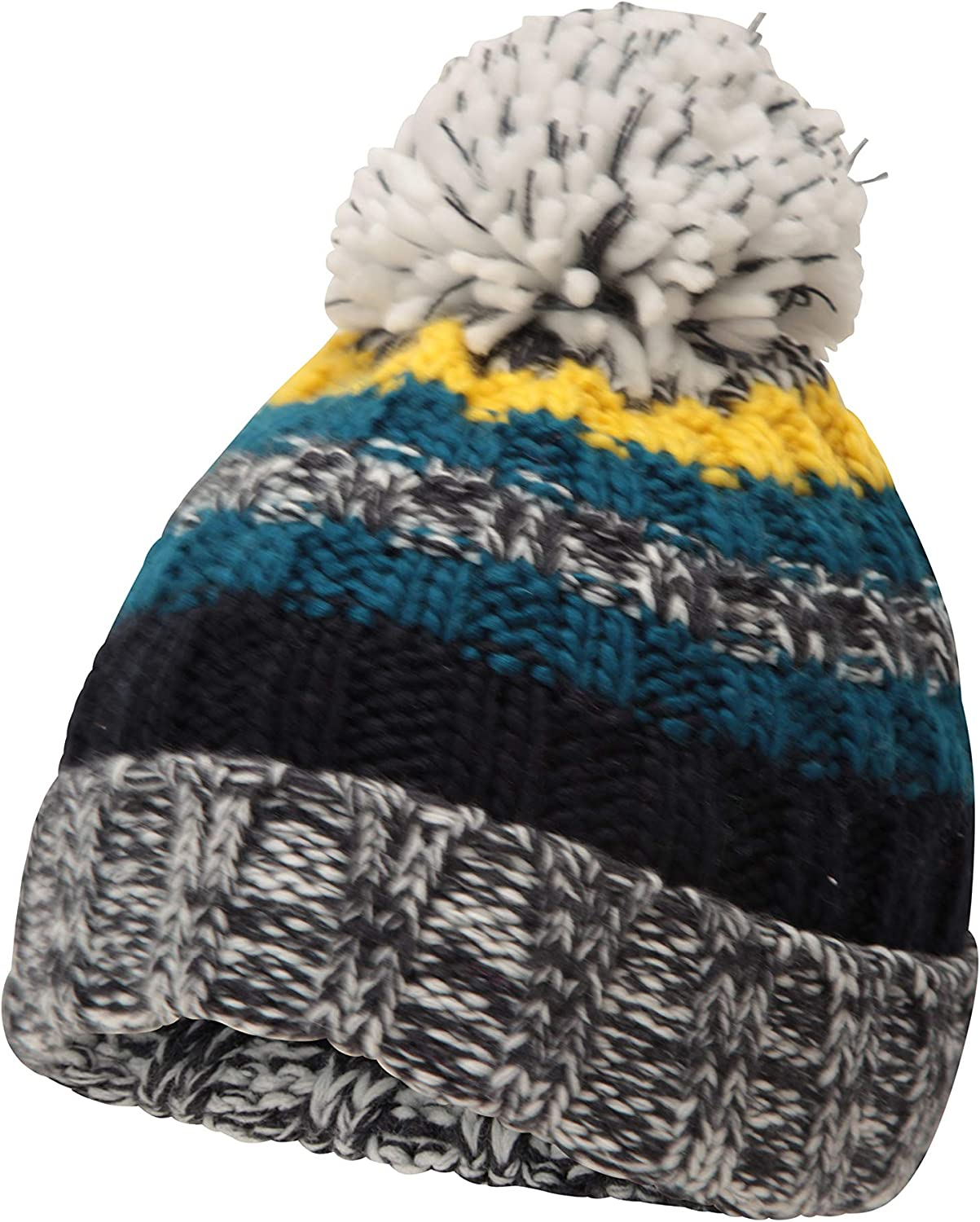 Outdoors Travelling Best for Winter Mountain Warehouse Chunky Knit Kids Beanie Warm /& Cosy Lightweight Girls /& Boys Winter Hat Fluffy Pom Pom Acrylic Fabric