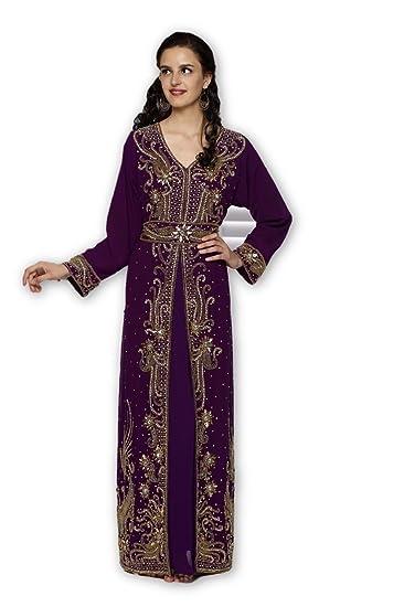 eeaacd650b mehreencreation Dubai Moroccan Purple Hand Embroidery Islamic Ladies Royal Kaftan  Dress (XS)