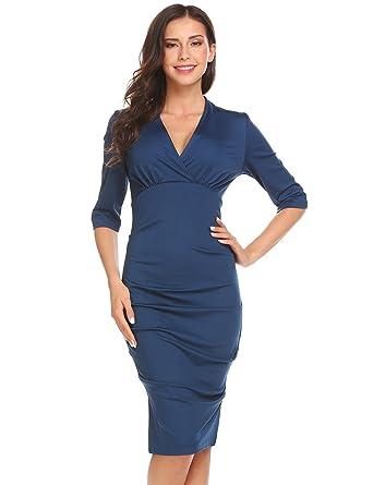 a9c89597d6ace Zeela Damen Etuikleid Halbarm V-Ausschnitt Knielang Abendkleid Partykleid  Wickelkleid mit Reißverschluss