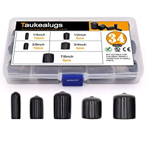 34pcs Black Pipe Post Bolt Screw Rubber Thread Protector Cover Vinyl Tube End Caps,Assorted 1/4-inch to 7/8-inch-5 Sizes