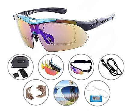 5d1318e5c42 Zando Men Fashion Sports Novelty Birthday Eyeglasses with 5 Interchangeable  Lenses Black-Blue