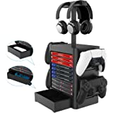 Multifunctional Vertical Stand Controller Storage Station Headset Games Storage Disc Rack for PS5/PS4/XBOX Series X/xbox…