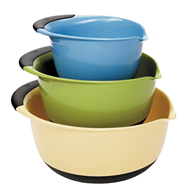 OXO 1169600 Good Grips 3-Piece Mixing Set, White Bowls with Blue/Green/Brown Handles, Yellow