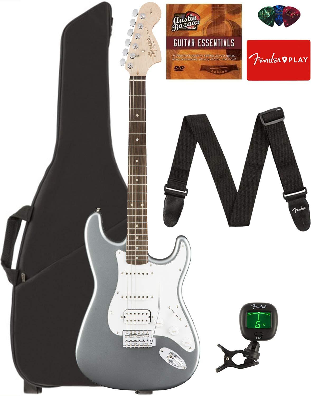 Fender Squier Affinity Series Stratocaster HSS Guitar - Laurel Fingerboard, Slick Silver Bundle with Gig Bag, Tuner, Strap, Picks, and Austin Bazaar Instructional DVD by Fender