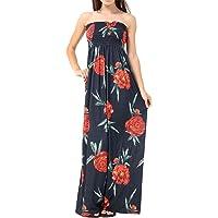 Islander Fashions Womens Strapless Sheering Boob Tube Maxi Dress Ladies Bandeau Summer Wear Dress S/3XL AU 8-26