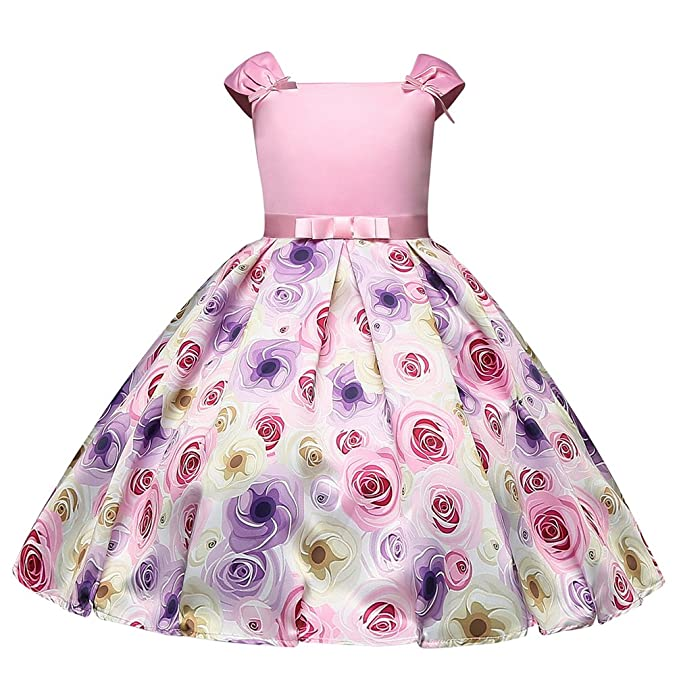 Yiiquanan Vestido Estampado Floral de Princesa Fiestas Boda para Niñas Vestidos Elegantes de Noche (Rosa