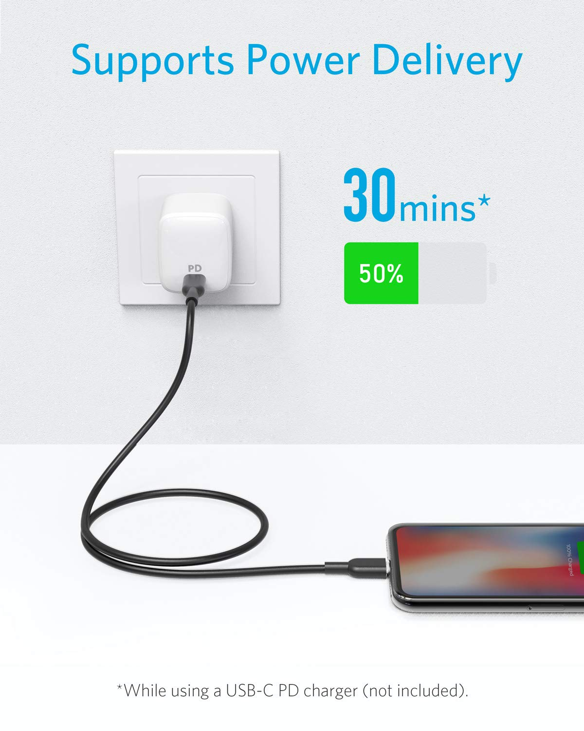 Anker-USB-C-to-Lightning-Cable-3ft-Apple-MFi-Certified-Powerline-II-for-iPhone-XXSXRXS-Max-88-Plus-Supports-Power-Delivery-for-Use-with-Type-C-Chargers