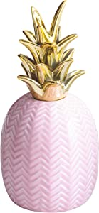 """WANYA Ceramic Pineapple Decorative Ananas Decor Collectible Figurines Showpiece Beautifully Sculpted with Realistic Detail, 10"""" Tall (Gold)"""