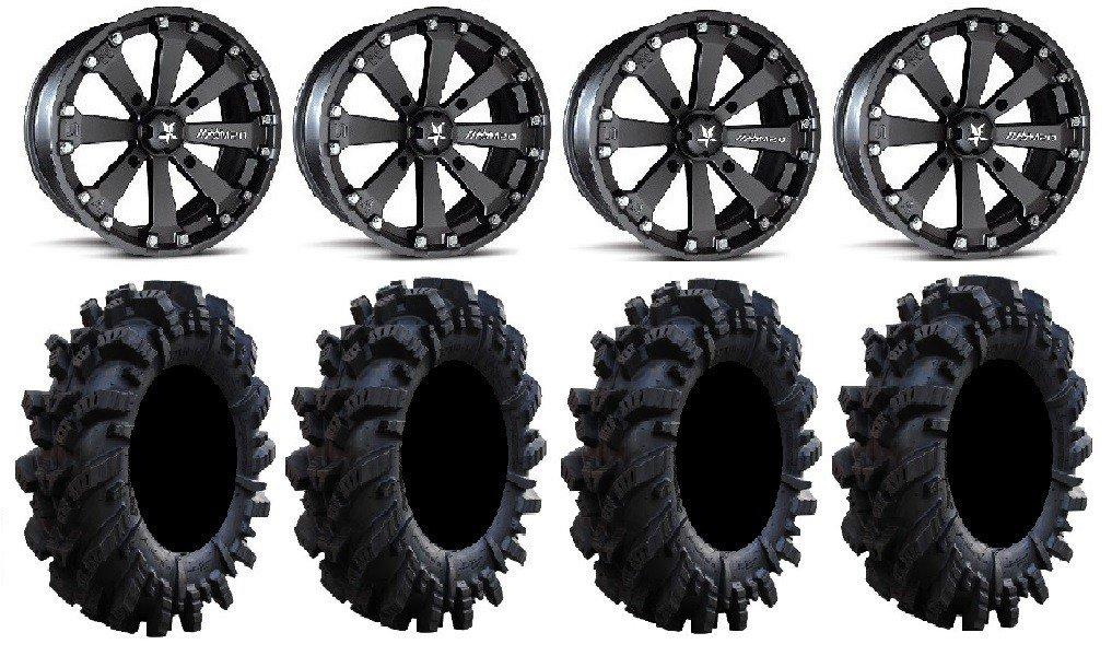 MSA Black Diesel 14 ATV Wheels 28 Regulator Tires 4x137 Bolt Pattern 12mmx1.25 Lug Kit 9 Items Bundle