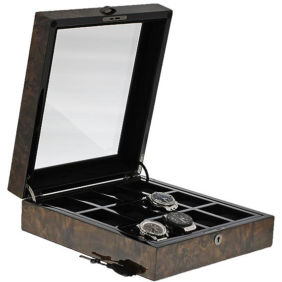 Caja de coleccionistas de relojes de madera oscura de calidad premium para 12 relojes de Aevitas