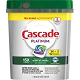 Mega Value Cascade Platinum Dishwasher Detergent Pods, 15x Strength with Dawn grease fighting power, 92 Counts