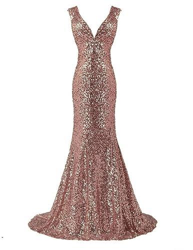LanierWedding Gold Sequins Mermaid V neck Bridesmaid Dresses Plus Size Prom Dresses