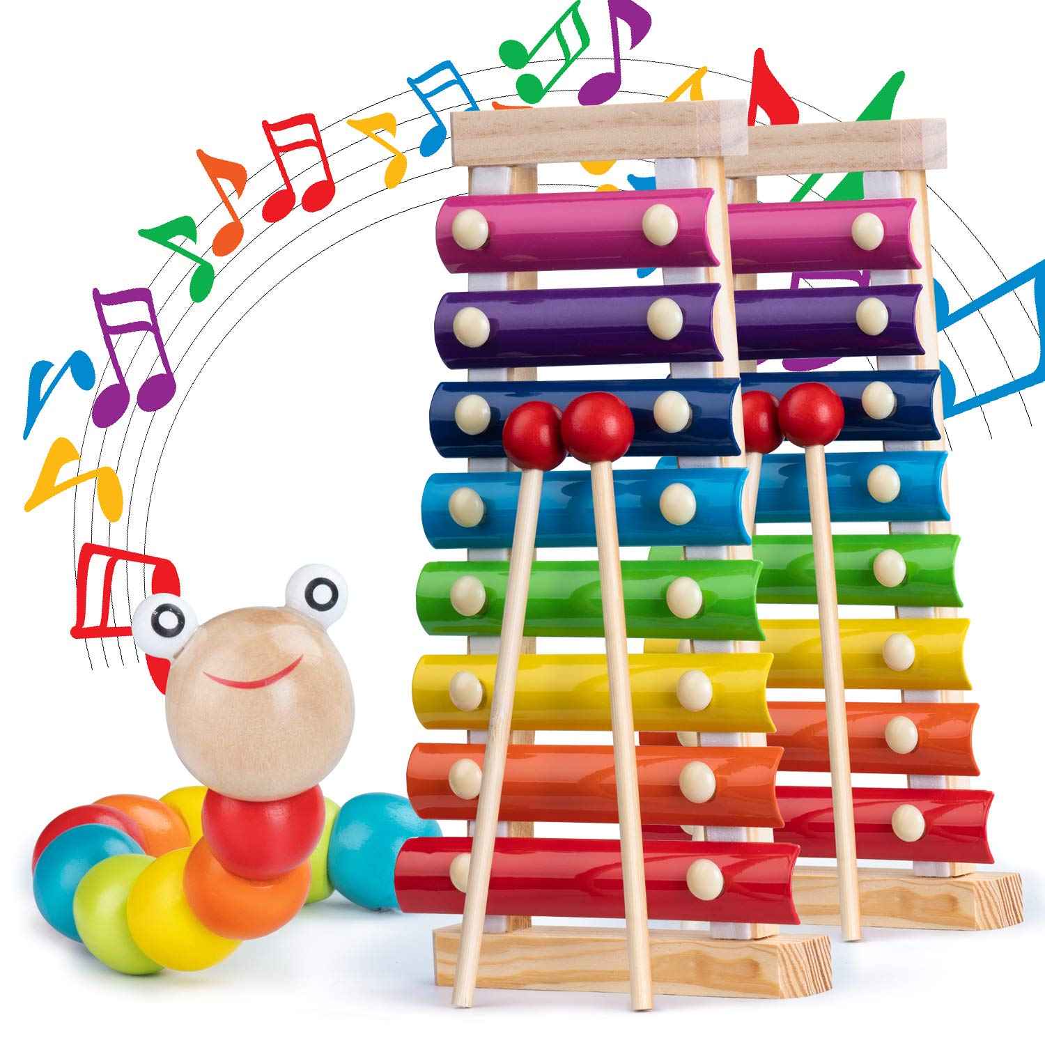 Xylophone for Kids Set Of Three Instrument Toys With Two Xylophone,One caterpillar toy-JiangChuan(2019 New Design),Best Birthday/Holiday Gift For Children's with Two Safe Mallets,Free Music socure by JiangChuan (Image #2)