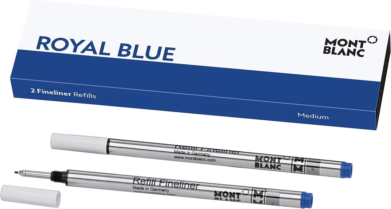 Montblanc 124499 Recambios para Fineliners y Rollerballs de tamaño M – Recargas de alta calidad en color Royal Blue, 1 paquete x 2 Recambios: Amazon.es: Oficina y papelería