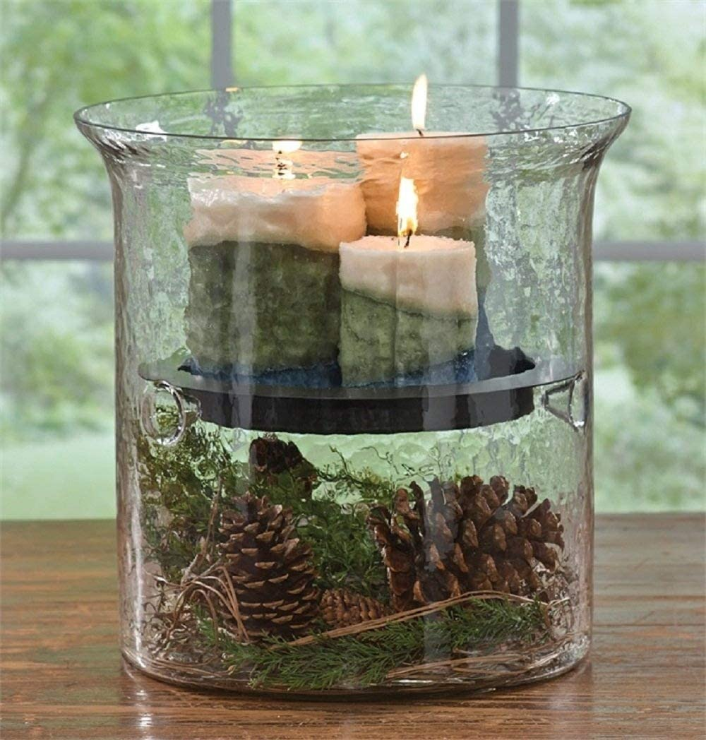 Park Designs Hammered Glass Cylinder with Candle Pan