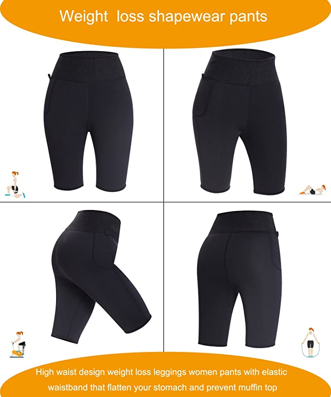463a80bae5623f Amazon.com  TAILONG Best Women Weight Loss Pants Neoprene Exercise Leggings  Sauna Suit Body Shaper Hot Sweat Thermo Slimming Capri Workout  Sports   ...