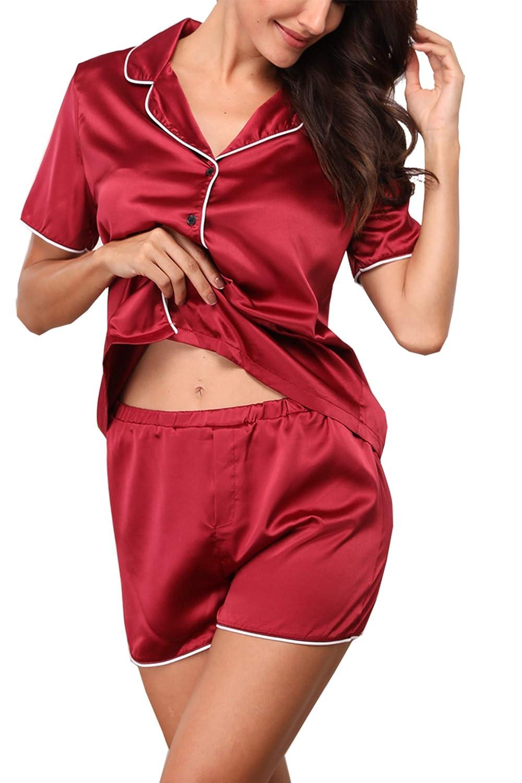 20dd426d89 ... Giorzio Damen Satin Schlafanzüge Sommer Nachtwäsche Kurz Pyjama Set  Zweiteiliger V-Ausschnitt Schlafoveralls ...