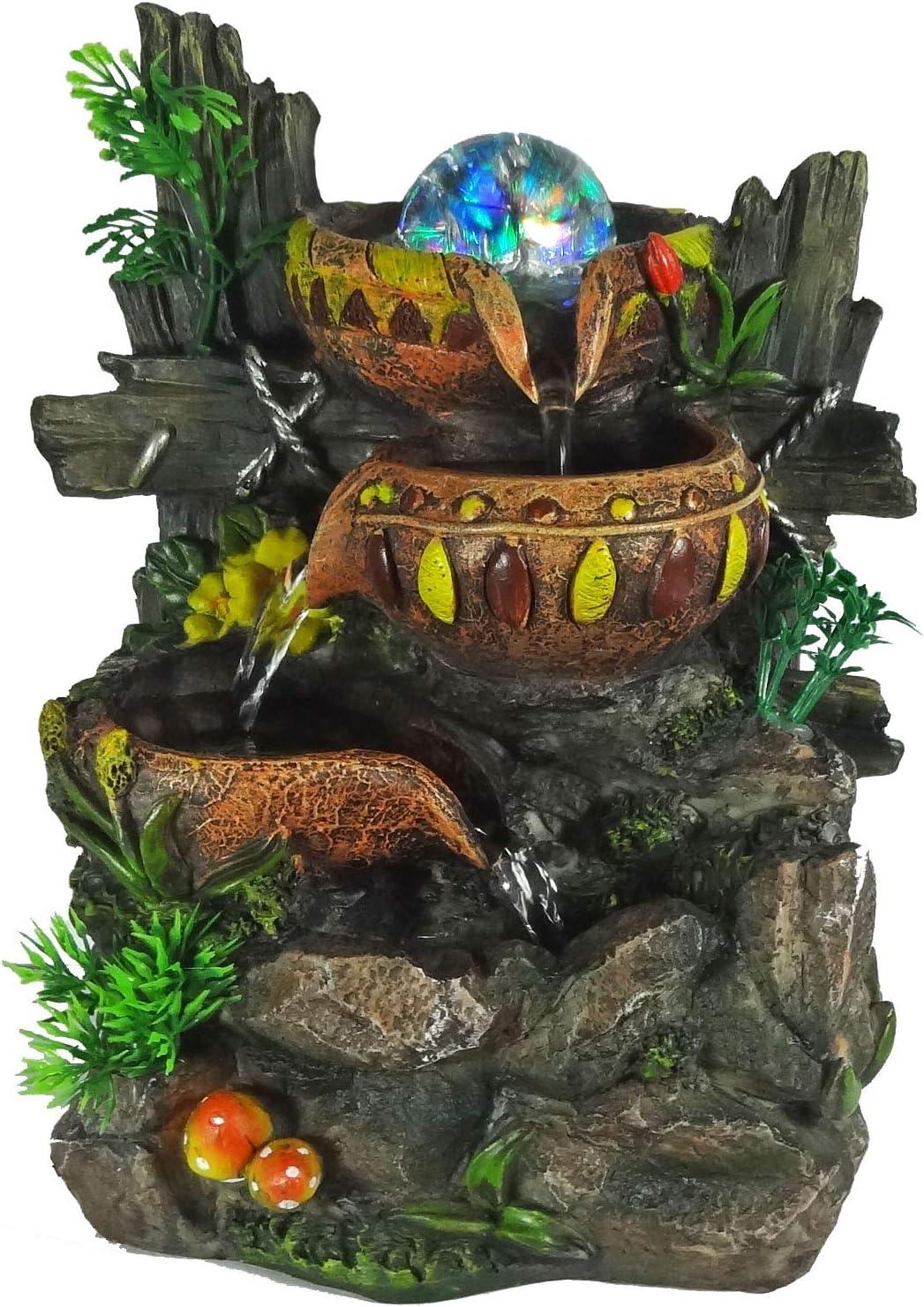 ImagiWonder Indoor Tabletop Fountain Cascading Water Buckets on Rocks