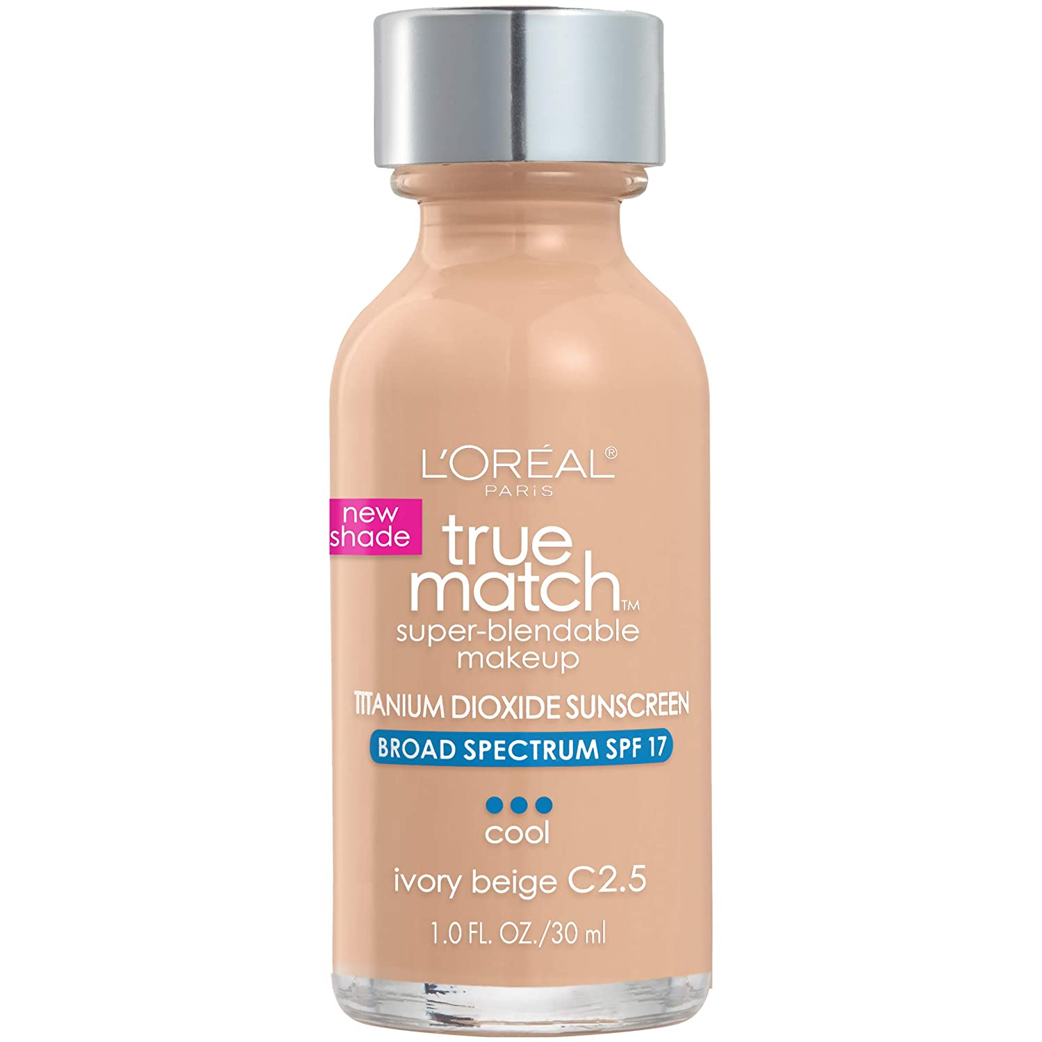 L'Oreal Paris Makeup True Match Super-Blendable Liquid Foundation, Ivory Beige C2.5, 1 Fl Oz,1 Count