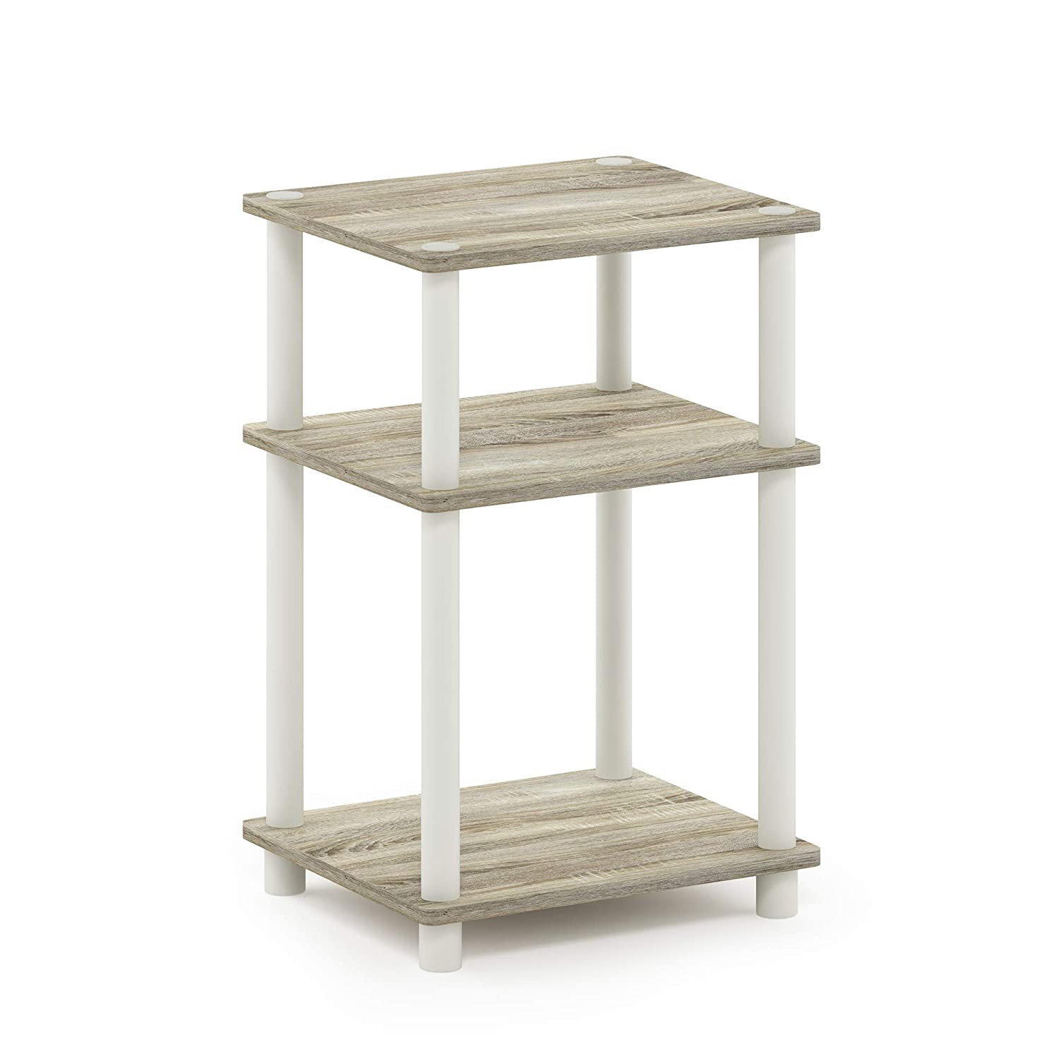 Furinno 11087OK/WH Just 3-Tier End Table, 1-Pack, Sonoma Oak/White