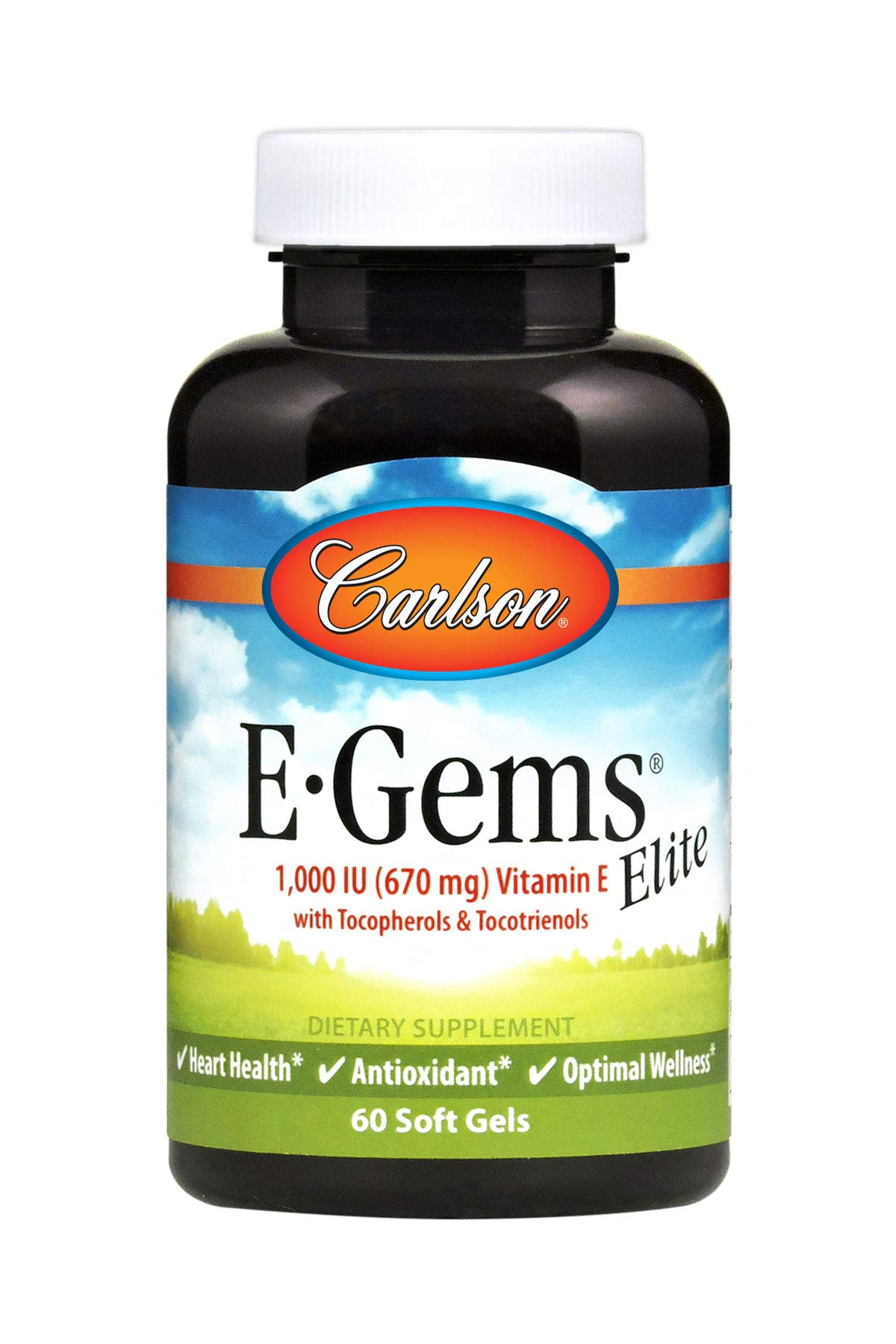 Carlson - E-Gems Elite, 1000 IU Vitamin E with Tocopherols & Tocotrienols, Heart Health & Optimal Wellness, Antioxidant, 60 Soft gels
