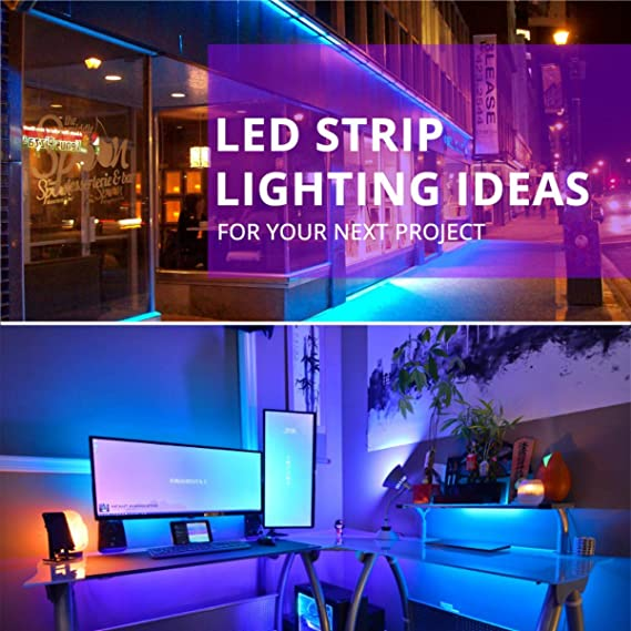 Suyoo Led Strip Lights 16 4ft 5m Flexible Color Changing Led Light Strip Kit 5050 Rgb Rope Light With 44 Key Ir Remote 12v2a Power Supply