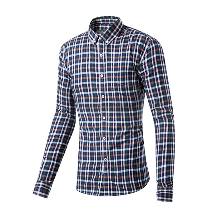 Honghu Casual Slim Fit Stretch Original Shirt Enrejado Camisa Business de Manga Larga Para Hombre XX-Large Rojo 0wzRsJpq