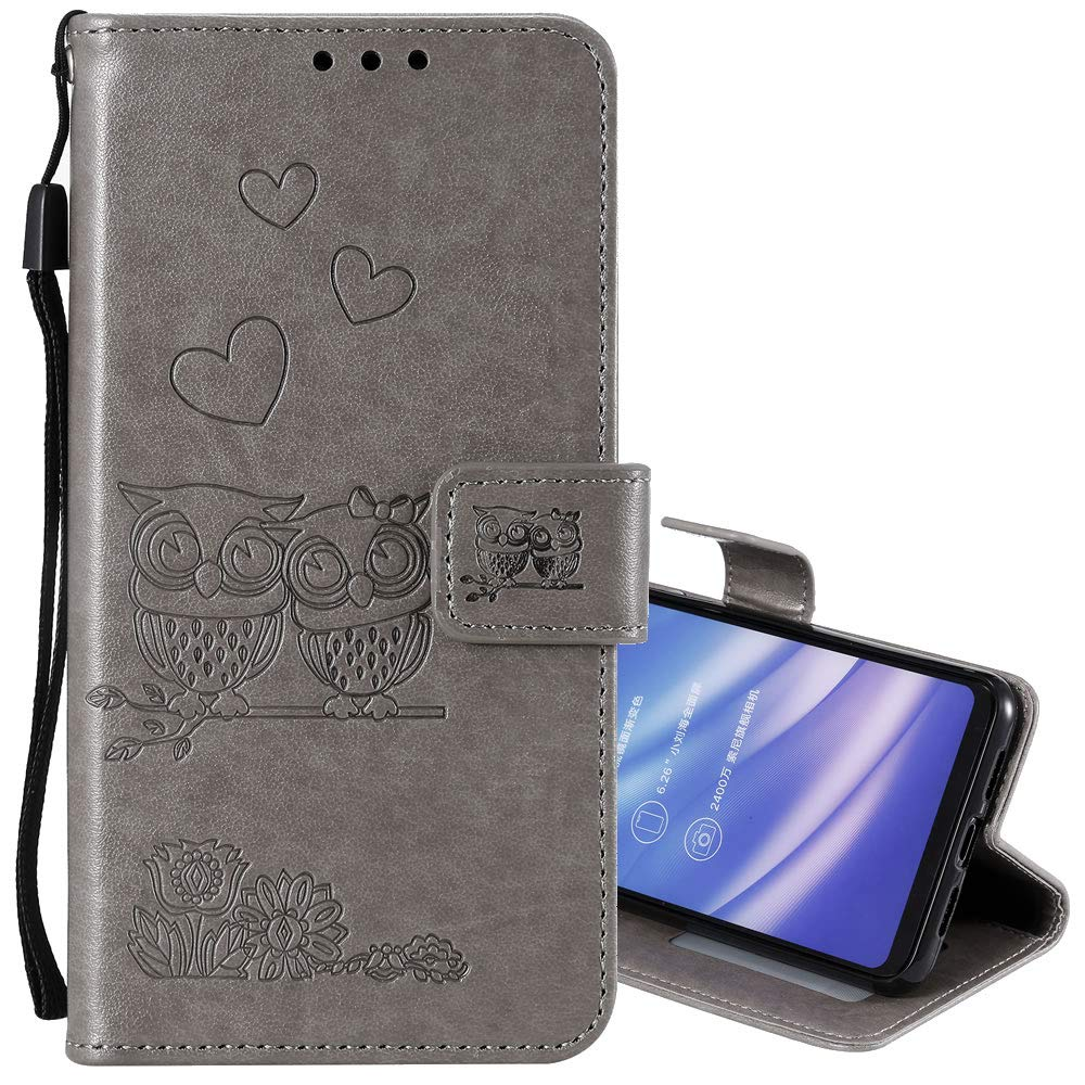 EnjoyCase Wallet Case for iPhone 8 Plus 5.5',Cut Funny Embossed Flower Owl Premium PU Leather Wrist Strap Magnetic Closure Bookstyle Protective Flip Cover for iPhone 8 Plus/7 Plus 5.5'