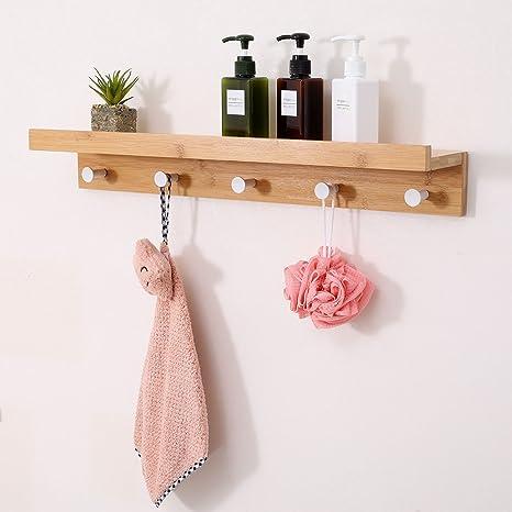Amazon.com: Ollieroo Bamboo Wall Mounted Shelf, Coat Hooks Rack 5 ...